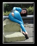 Girl in blue Rubber Overall